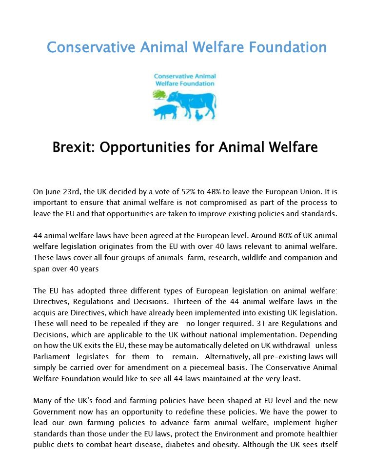 brexit opportunities conservative animal welfare foundation