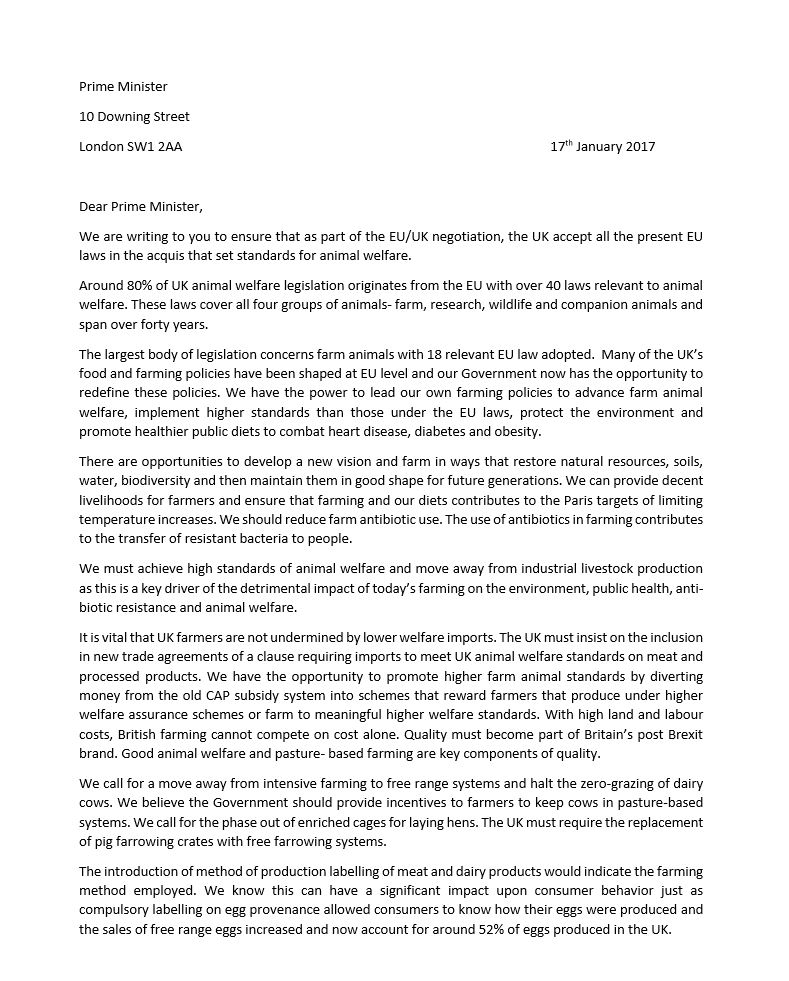 snip letter conservative animal welfare foundation to PM