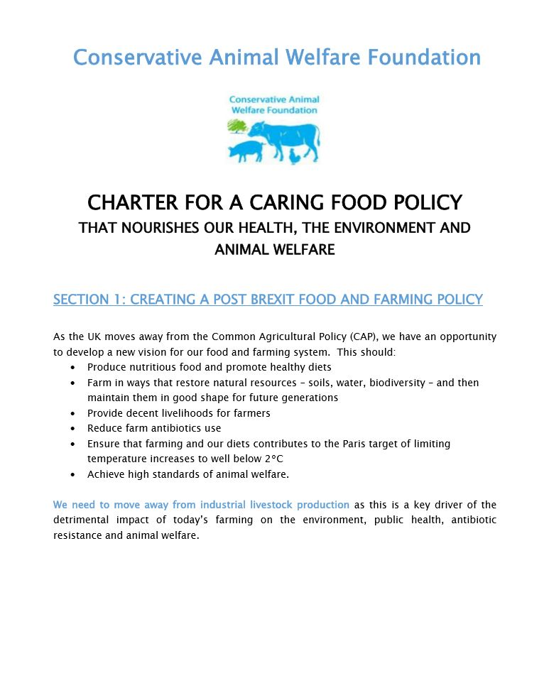 snip of charter of conservative animal welfare foundation