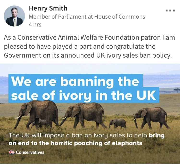 henry smith conservative animal welfare foundation ivory ban photo