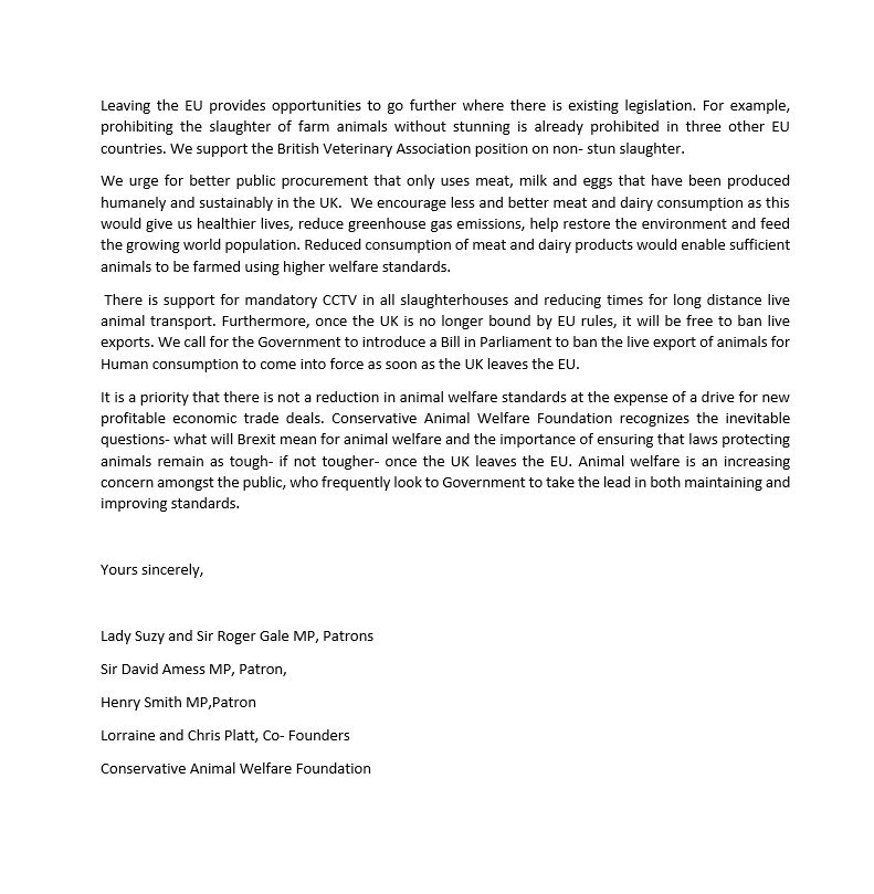 snip page 2 conservative animal welfare ffoundation letter to PM